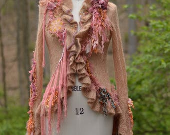Light brown pink blush coral refashioned SWEATER, boho OOAK Fantasy art to wear, shabby chic top, ruffles, fringes. Size S. Ready to ship