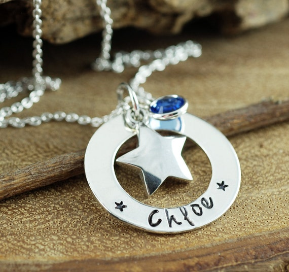 Personalized Star Necklace, Hand Stamped Necklace, Custom Birthstone Necklace, Lucky Star Necklace, Star jewelry, Gift for Daughter