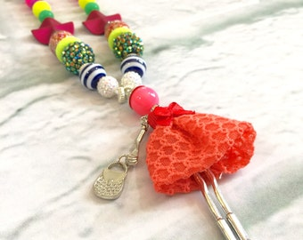 Fun Kids Necklace. Fashion girl. Kiddo jewelry. Bright Colors. Doll. Little girl. Gift for girls. Bubblegum bead necklace. One-of-a-Kind
