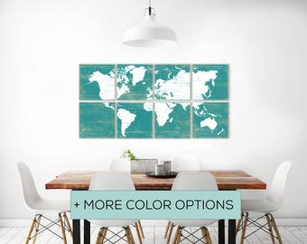 Large Colorful World Map Decor - Click to see more colors of our World Map Wall Art