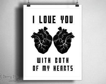 """Time Lord Anatomical Hearts PRINTABLE, """"I Love You With Both of My Hearts"""" // Doctor Who 8x10 Art // Instant Download, Digital Download"""