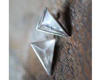 SOLD Pyramid Crystal Stud Earrings Reserved for Lena