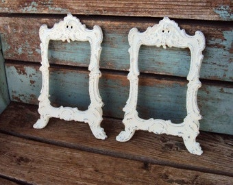 Shabby Chic Vintage Frames Frame Set Rococo Baroque Scatter Frames Set Metal Antique White Vintage French Country Marked Gold Tone Wedding