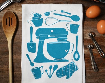 Mother's Day Gift, Mixer Kitchen Utensils , Illustrated Flour Sack Tea Towel, Kitchen Towel, Housewarming Gift, Hostess Gift, Screen Printed