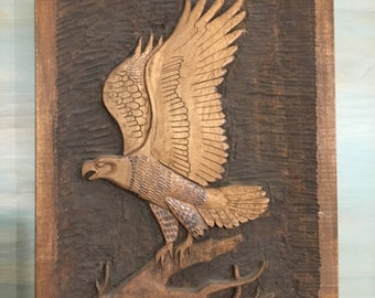 Eagle Wooden Carving Plaque