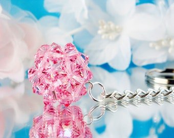 Swarovski Crystal Keychain Pink Crystal Ball Key Chain for Women