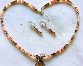 Amber Gemstone Sterling 925 Silver Pendant, Red Agate Gemstones  Necklace and Earrings