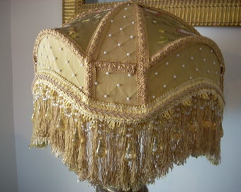 """Gold """"Tracy"""" Shade with Pearls and Beaded Fringe"""