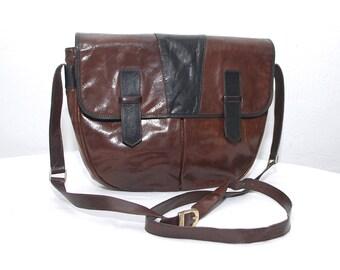 70s 80s leather satchel. large bag. two tone shoulder bag. crossbody satchel