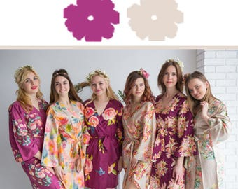Plum and Nude Wedding Color Bridesmaids Robes - Premium Rayon Fabric - Wider Belt and Lapels - Wider Kimono sleeves