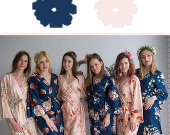 Navy Blue and Blush Wedding Color Bridesmaids Robes - Premium Soft Rayon - Wider Belt and Lapels - Wider Kimono sleeves