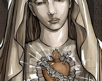 Immaculate Heart, Portrait of Mary Holy Card