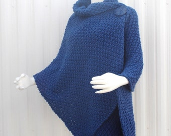 Hand Knit Shawl, Wrap, Knit Cape, Knitted Poncho Chuncky,Denim Blue Plus Sizes Available