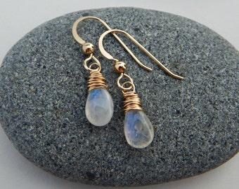 rainbow moonstone. 14k yellow gold fill. crown chakra earrings. aura jewelry. goddess earrings. adirondack jewelry. rainbow gemstone.