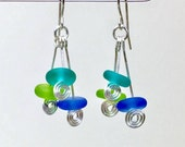 Lampwork sea glass style & silver spiral dangle earrings, beach glass and silver dangly earrings by paulbead tropical island  jewelry