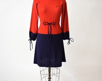 60s Pierre Cardin Bold Colorblock Drawstring Sweater Dress // Navy Blue & Red Orange // Mod Chic, Cozy Winter Fashion // Designer Vintage