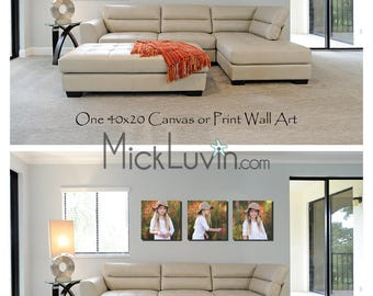 Photoshop Template Wall Display - Real Living Room - 2 Wall Art Options - Upsell Photos - Real Room Wall Art Inspiration