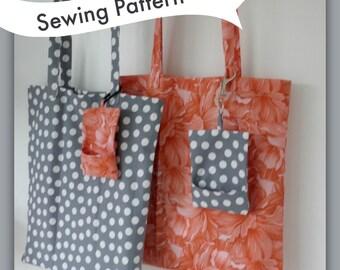 Pocket Tote Bag Sewing Pattern, market bag, grocery bag. Folds into its own pocket.