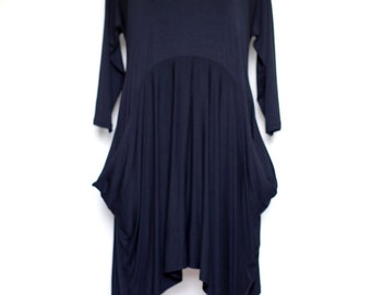 Black jersey dress flared plus size casual formal knee line original designer women clothes