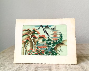 Vintage Japanese Painted Silk Print