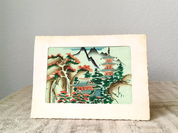Vintage Japanese Painted Silk Print