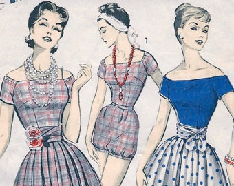 RARE * 1950's Advance  Pattern 8313 - ROMPER PLAYSUIT w/ Cummerbund & Skirt * Size 16, Bust 36