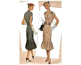 1950s Dress Pattern Fishtail Skirt Short Cap Sleeve Sheath Day Dress Surplice V Neck McCall 8580 Plus Size Bust 40 Vintage Sewing Pattrn