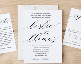 Printable Wedding Invitation Template | Modern Calligraphy Script | Word or Pages | MAC or PC | Editable Artwork Colors - Instant DOWNLOAD