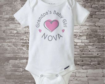 Girl's Personalized Grandpa's Baby Girl with Pink Heart Onesie or Tee Shirt 06102013b