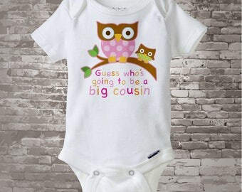 Big Cousin Outfit, Big Cousin Onesie, Guess Who's Going To Be A Big Cousin Owl Tee Shirt or Big Cousin Onesie Announcement Owl  (10192012a)