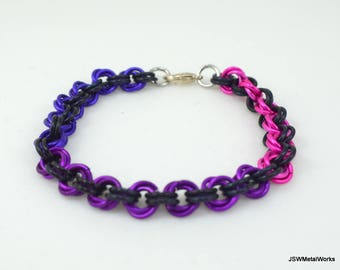 Purple, Violet, Pink and Black Mobius Chainmail Bracelet, Aluminum Bracelet, Chainmaille, Gift for him, Gift for her, Renaissance Chain Mail