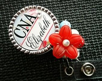Personalized ID Badge Reels- Rn Lvn Cna - Medical - Shabby Rose with Swavorski Rhinestone