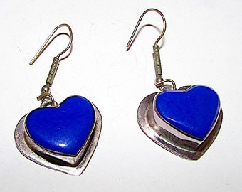 Vintage Taxco Mexican Sterling Lapis Heart Statement Earrings