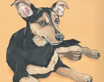Custom Dog Portrait - Hand Painted 12x16 inch Original Painting using Gouache on Paper- Custom Illustration Gift for the Animal Lover