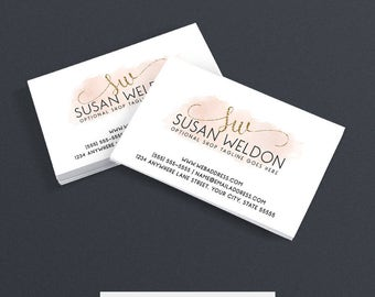 30% OFF SALE Etsy Shop Business Cards -  Business Card Design - Watercolor Business Card - Pink Business Card Design -  Watercolor 2-017c