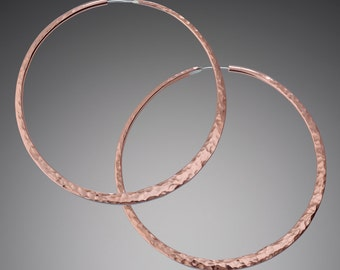 Giant Copper 3 inch Hammered Hoop Earrings