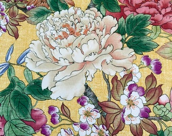 Fabric, Home Dec, Springy Floral, Gold Background, Heavy Cotton, Richloom Design