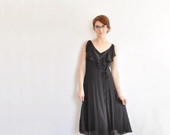 two piece noir black Escada dress . beaded detail . sheer ruffle wrap bodice .small