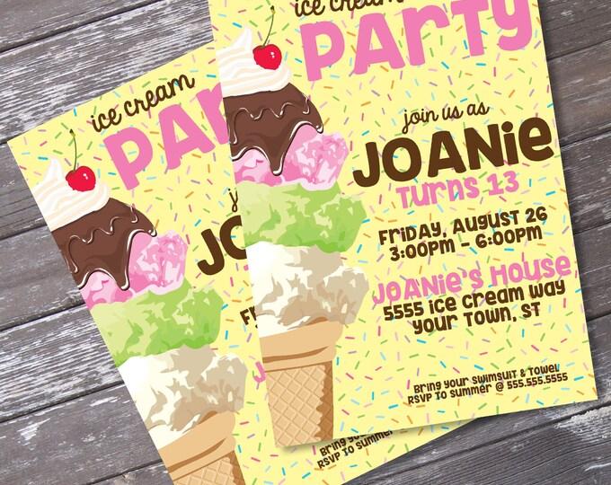 Ice Cream Party Invitation - Ice Cream Birthday, Ice Lolli, 1st Birthday | Editable Text - INSTANT Download PDF Printable