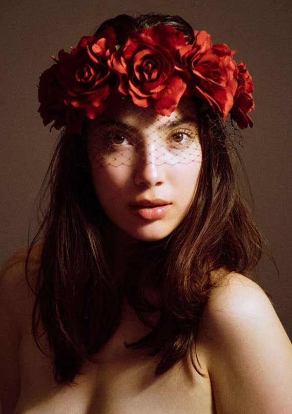 Red Roses Flower Crown Veil Flower Crown Day Of The Dead