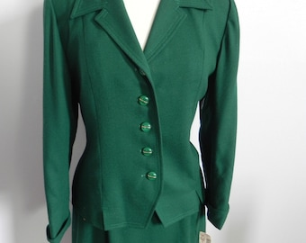 Vintage Women's Dark Green Suit - Green Skirt Suit Jacket and Pencil Skirt Lg - on sale