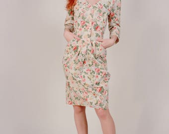 Vintage 80's Button Front Floral Print Sweetheart dress