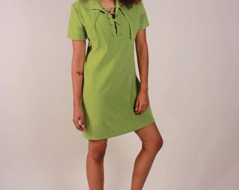 Vintage Lime Green 90s Mini Dress