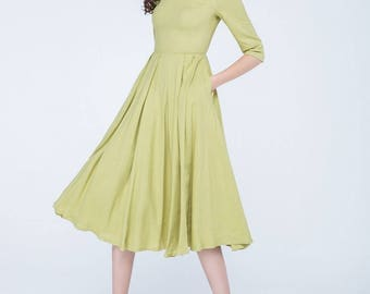 mustard dress, pleated dress, linen dress, knee length dress, casual dress, womens dresses, fitted dress, flare dress, made to order 1745