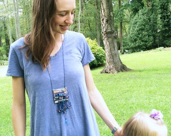 Woven Tapestry Necklace: Fiber and Pottery, Textile Jewelry, Blue White Orange, Statement Jewelry, Funky Boho Style TAP6