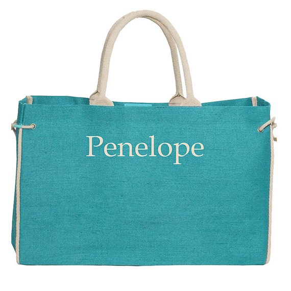 Large Jute Market Bag, Personalized Burlap Market Bag, Bridesmaid Bags Personalized, Aqua Burlap Bag, customized tote bag, bridesmaid gifts