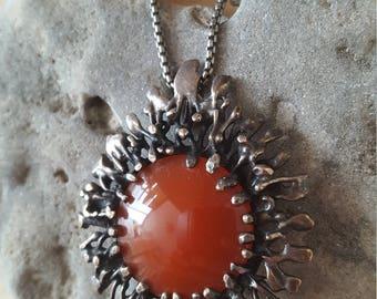New Listing Sale...SPECTACULAR Modernist Carnelian Starburst Pendant Necklace. Israel Modernist. Modernist Necklace 925. Carnelian 925