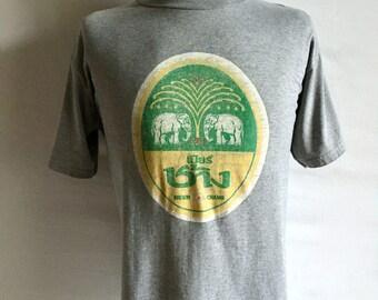 Vintage Men's 80's Thailand T Shirt, Grey, Cotton, Short Sleeve (L/XL)