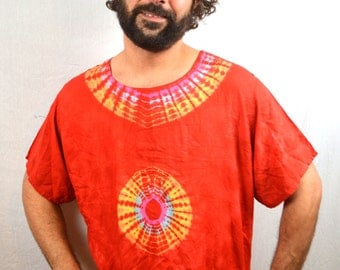 Vintage 80s 90s Red Rainbow Ethnic Tie Dye Batik Dashiki Caftan Tunic Top