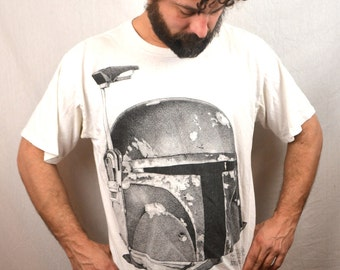 Vintage RARE 1995 Bounty Hunter Boba Fett Empire Strike Back 90s Star Wars Tee Shirt Tshirt